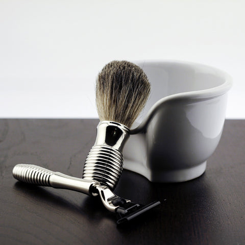 Mach 3 Razor Badger Brush & White Porcelain Soap Dish