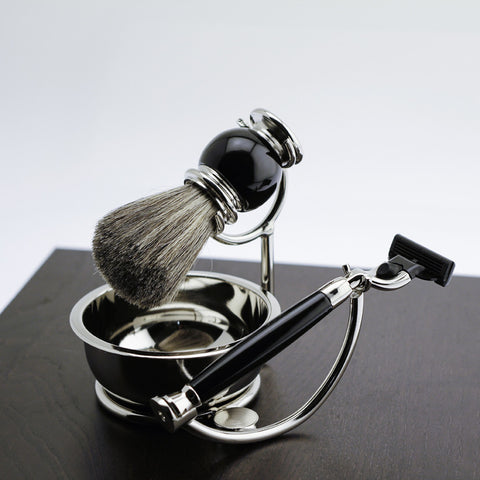 Mach 3 Razor Black Enamel Badger Brush & Soap Dish on Chrome Stand