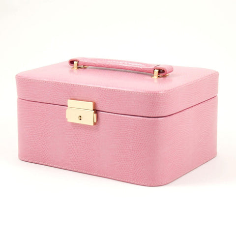 "Pink ""Lizard"" Leather Jewelry Box for 3 Watches"
