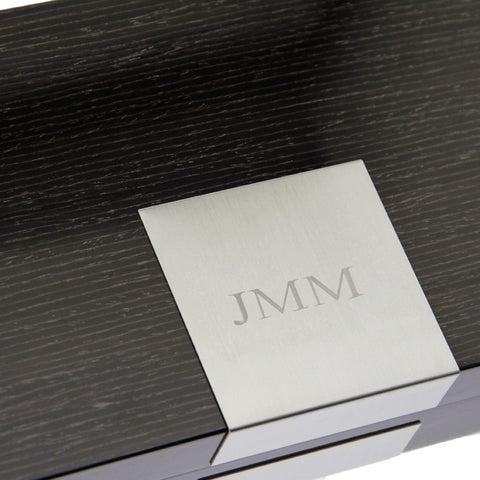 Lacquered Wood Jewelry Box in Steel Gray