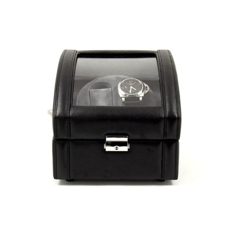 Black Leather 2 Watch Winder With Glass Top and Locking Clasp. Includes 2 Sizes of Watch Pillows for Large and Small Wrist Sizes. Selectable Single or Dual Direction Rotation. Rotates over 4300 Times a Day. Works on Both AC or DC Power.