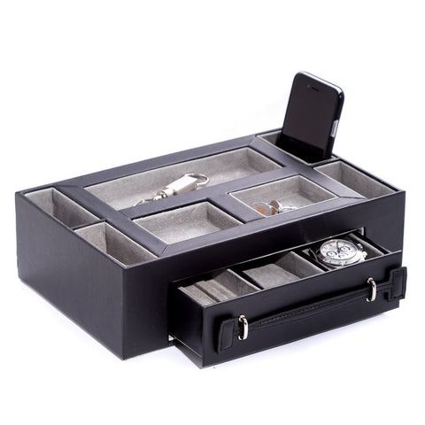 Black Leather Open Face Valet Box with Drawer for 2 Pens & 2 Watches. Pigskin Leather Lined.