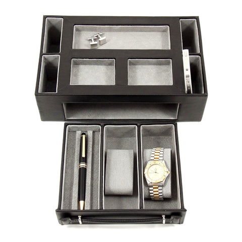 Black Leather Open Face Valet Box with Drawer