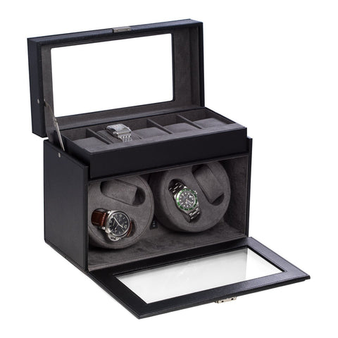 Black Leather Four Watch Winder and 5 Watch Storage Case with Locking Clasp.