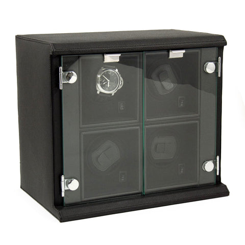Black Leather Quadruple Watch Winder with Removable Individual Winders