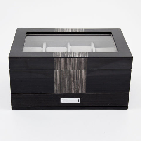 8-Watch Case with Glass Top in Lacquered Wenge Wood