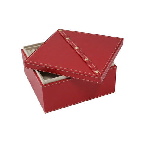 Studded 2-Level Jewelry Box in Red Leather