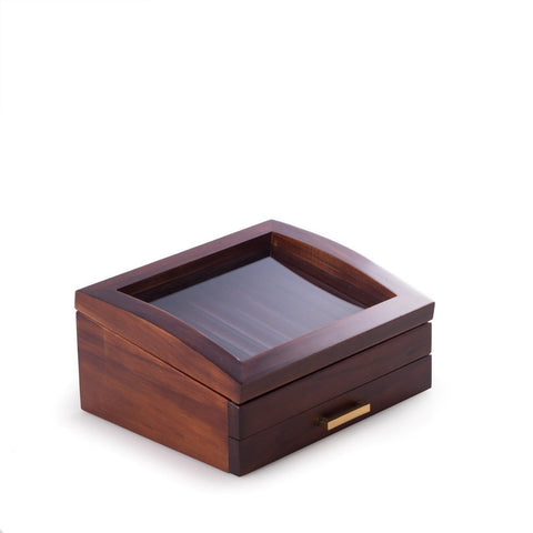 Walnut Wood 19 Pen Box with Glass Top