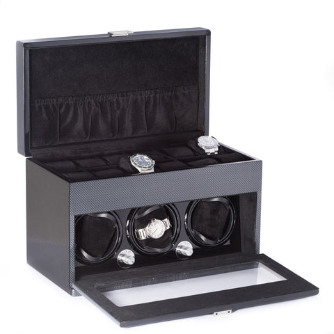 Lacquered Carbon Fiber Steel Gray 3-Watch Winder