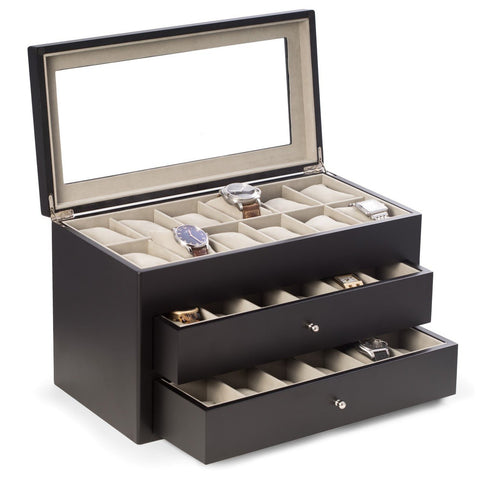 Matte Black Wood 36 Watch Box with Glass Top & 2 Drawers