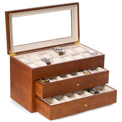 Cherry Wood 36 Watch Box with Glass Top & 2 Drawers