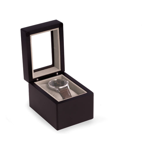 Matte Black Wood Single Watch Box with Glass Top, Velour Lining & Pillow
