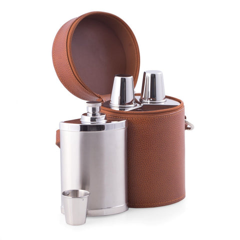 7-Piece Stainless Steel Flask Set in Brown Leather Carrying Case