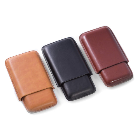 Triple Leather Cigar Case