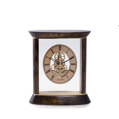 """Miami"" Clock, Skelton Movement, Walnut Wood and Gold Plated, T.P."