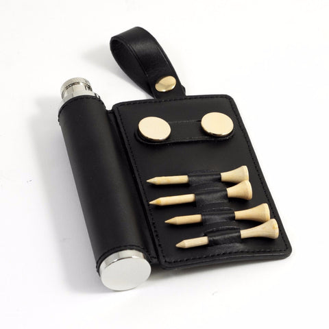 Black Leather Golf Accessory Caddy with Flask