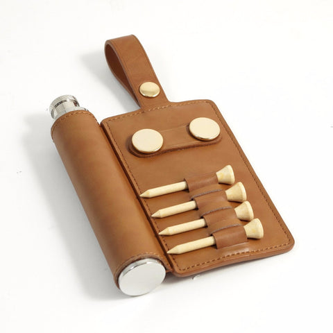 Tan Leather Golf Accessory Caddy with Flask