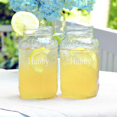 Hubby & Hubby 26 oz. Mason Jar Set