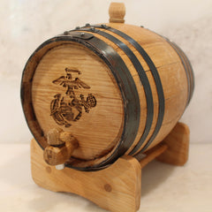 Marine Corps Insignia Black Hoop Mini Whiskey Barrel