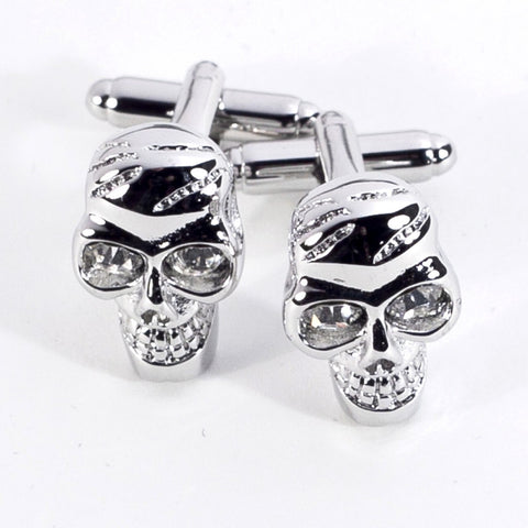 Rhodium Plated Skull Cufflinks with Engraved Box