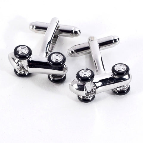 Race Car Rhodium Plated Cufflinks with Engraved Box