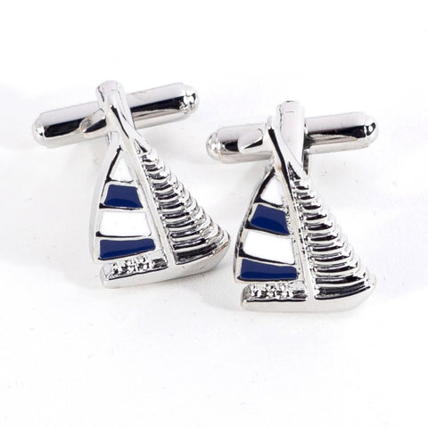Rhodium Plated Sailboat Cufflinks with Engraved Box