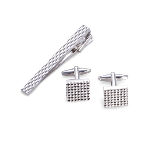 Rhodium Plated Checkered Cufflink & Tie Pin Set
