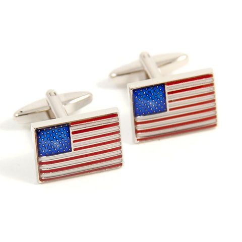 USA Flag Rhodium Plated Cufflinks with Engraved Box