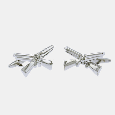 Rhodium Plated Shotguns Cufflinks