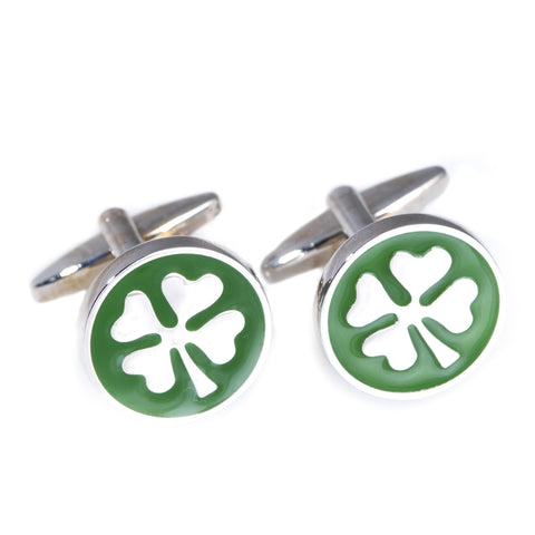 Rhodium Plated Four Leaf Clover Cufflinks