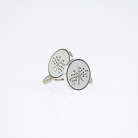 Rhodium Plated Checkered Flag Cufflinks
