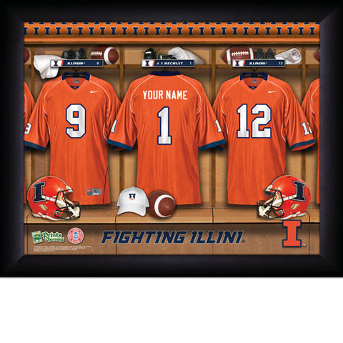 Personalized College Football Locker Room Signs - Illinois Fighting Illini