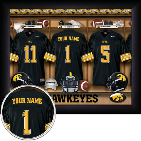 Personalized College Football Locker Room Sign - Iowa Hawkeyes