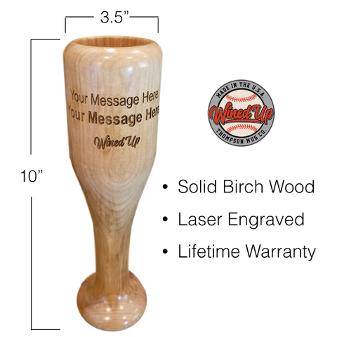 Personalized Baseball Bat Wine Glass