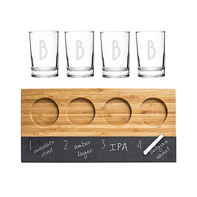 Personalized Bamboo & Slate Craft Beer Tasting Flight