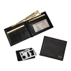 Personalized Bi-Fold Wallet with Multi-function Tool