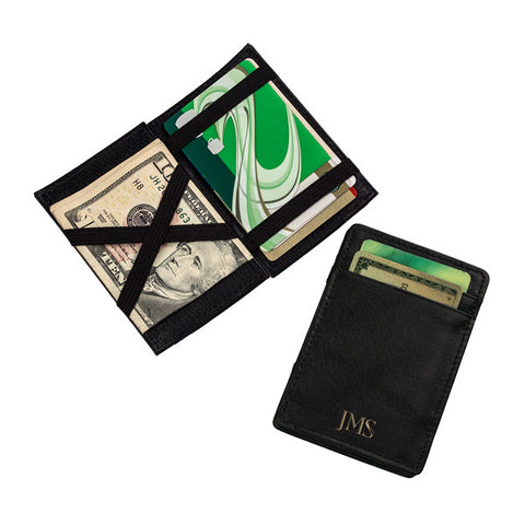 Personalized Black Leather Magic Wallet