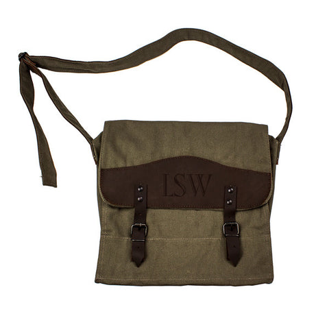 Personalized Canvas & Leather Messenger Bag