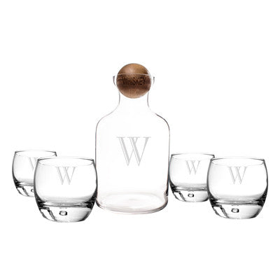 Personalized Glass Decanter with Wood Stopper Set