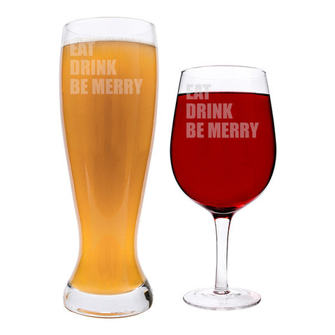 Personalized Novelty Custom Line XL Beer & Wine Glass Set