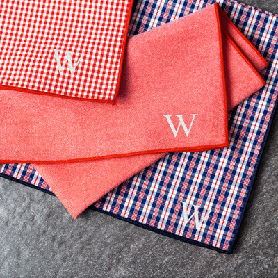 Personalized Red & Navy Gingham Handkerchief Set