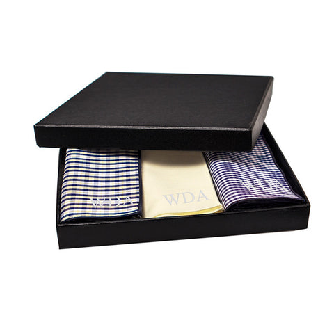 Personalized Yellow & Navy Gingham Handkerchief Set
