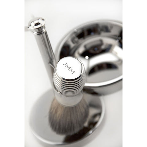 Personalized Mach3 Razor, Badger Brush,  Soap Dish with Ribbed Accents