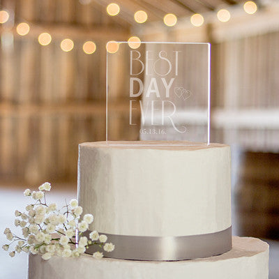 Personalized Best Day Ever Acrylic Square Cake Topper