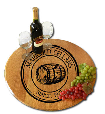 Personalized Oak Barrel Lazy Susan - Oak Barrel Medallion