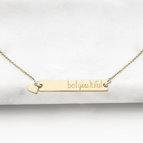 """be{you}tiful"" Horizontal Bar Necklace"