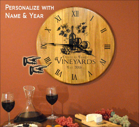 Vineyard Personalized Clock