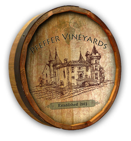 Vintage Vineyard Quarter Barrel Sign