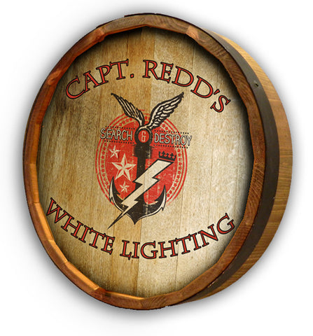 Personalized White Lightning Quarter Barrel Sign