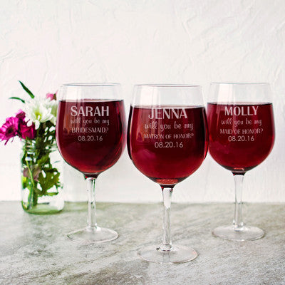 Personalized Will You Be My Maid of Honor? 25 oz. XL Wine Glass